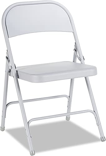 Alera ALEFC94LG Steel Folding Chair with Two-Brace Support, Light Gray Case of 4