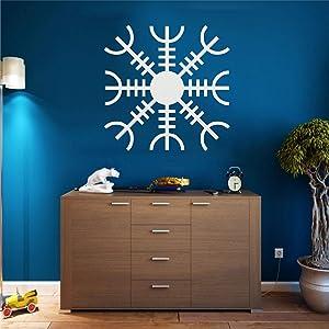 Metal Wall Art, White Metal Viking Decor, Nordic Mythology Vegvisir Runes and Symbols, Metal Wall Decor, Norse, Home Decor, Interior Decoration (18