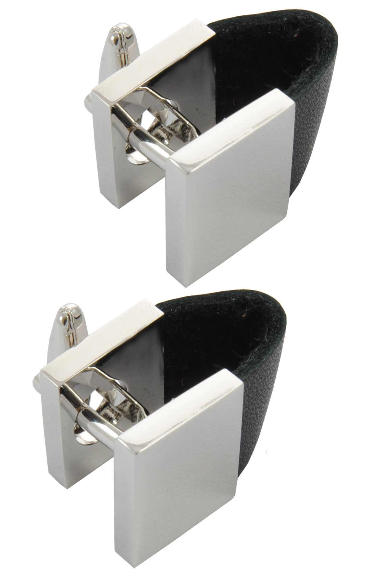 COLLAR AND CUFFS LONDON - Premium Cufflinks with Gift Box - Unusual Leatherette Strap and Square Wrap Around - Silver and Black Colours