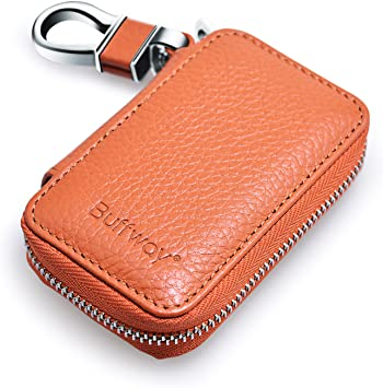 Red 2 Pocket Premium Genuine Leather Car Smart Key Chain Coin Holder Case