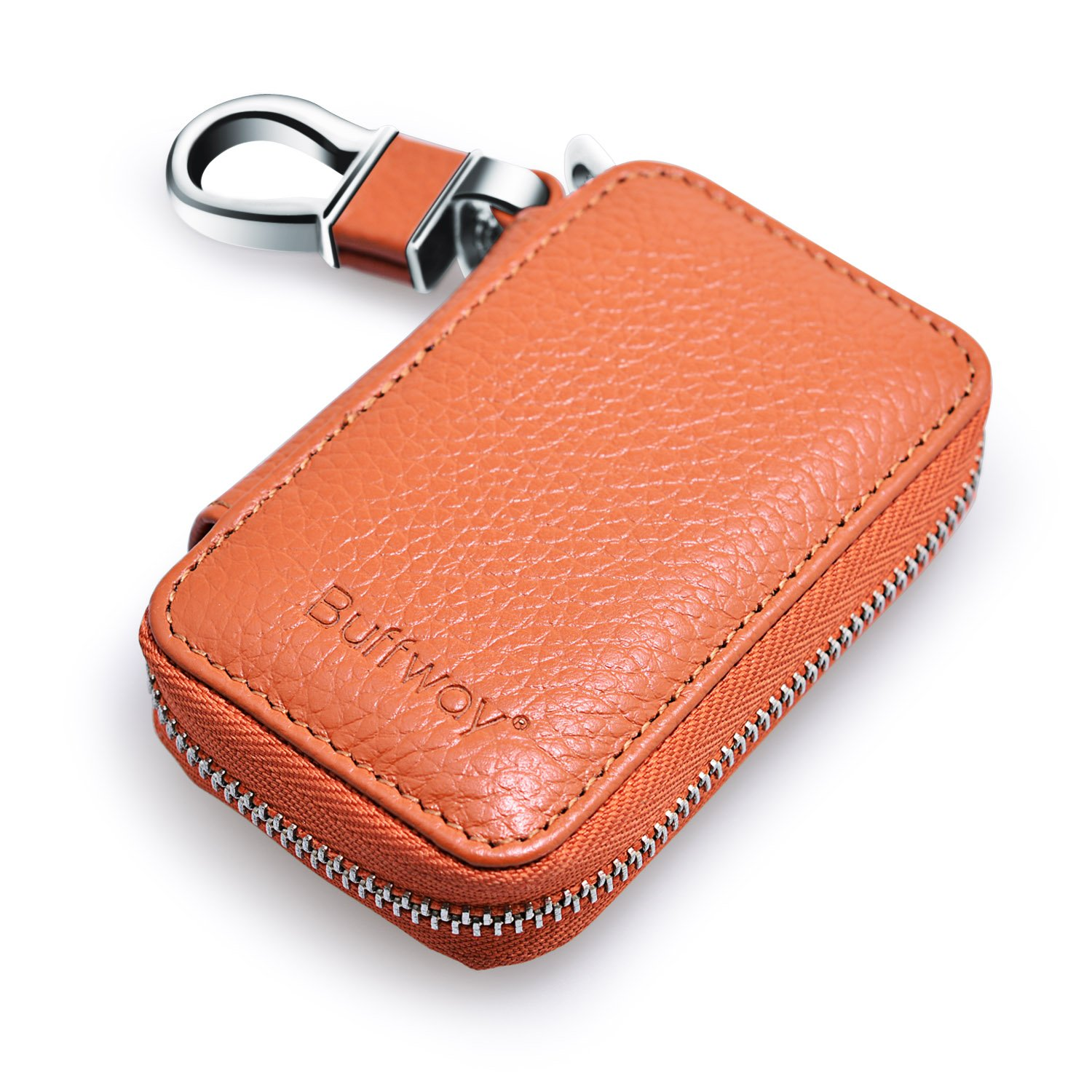 Buffway Car key Chain bag, Genuine Leather Car Smart KeyChain Coin Holder Metal Hook and Keyring Wallet Zipper Case for Auto Remote Key Fob - Cherry