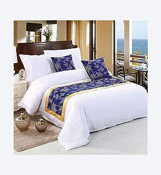 Multi-Table Bandera de Cama Toalla de Cama Estera de Cama decoración de cabecera Toalla Azul de Hotel 5 Camas de Hotel de Estrellas Cama de 180CM: ...