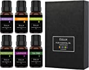 Essential Oils Set, ESSLUX TOP 6 Aromatherapy Essential Oils: Lavender, Tea Tree, Orange, Rosemary, Lemongrass, Peppermint Es