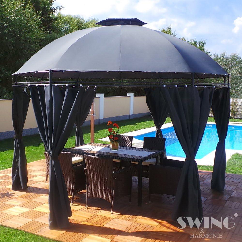 LED – Carpa 350 cm Lavo – con paredes laterales y LED Iluminación + Módulo Solar Redonda de jardín Cenador redondo, antracita: Amazon.es: Jardín