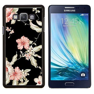 For Samsung Galaxy A7 Floral Wallpaper Black Pink Garden Flowers