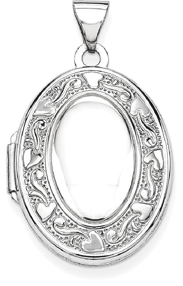 ICE CARATS 14k White Gold Oval Photo Pendant Charm Locket Chain Necklace That Holds Pictures Fine Jewelry Gift Set For Women Heart