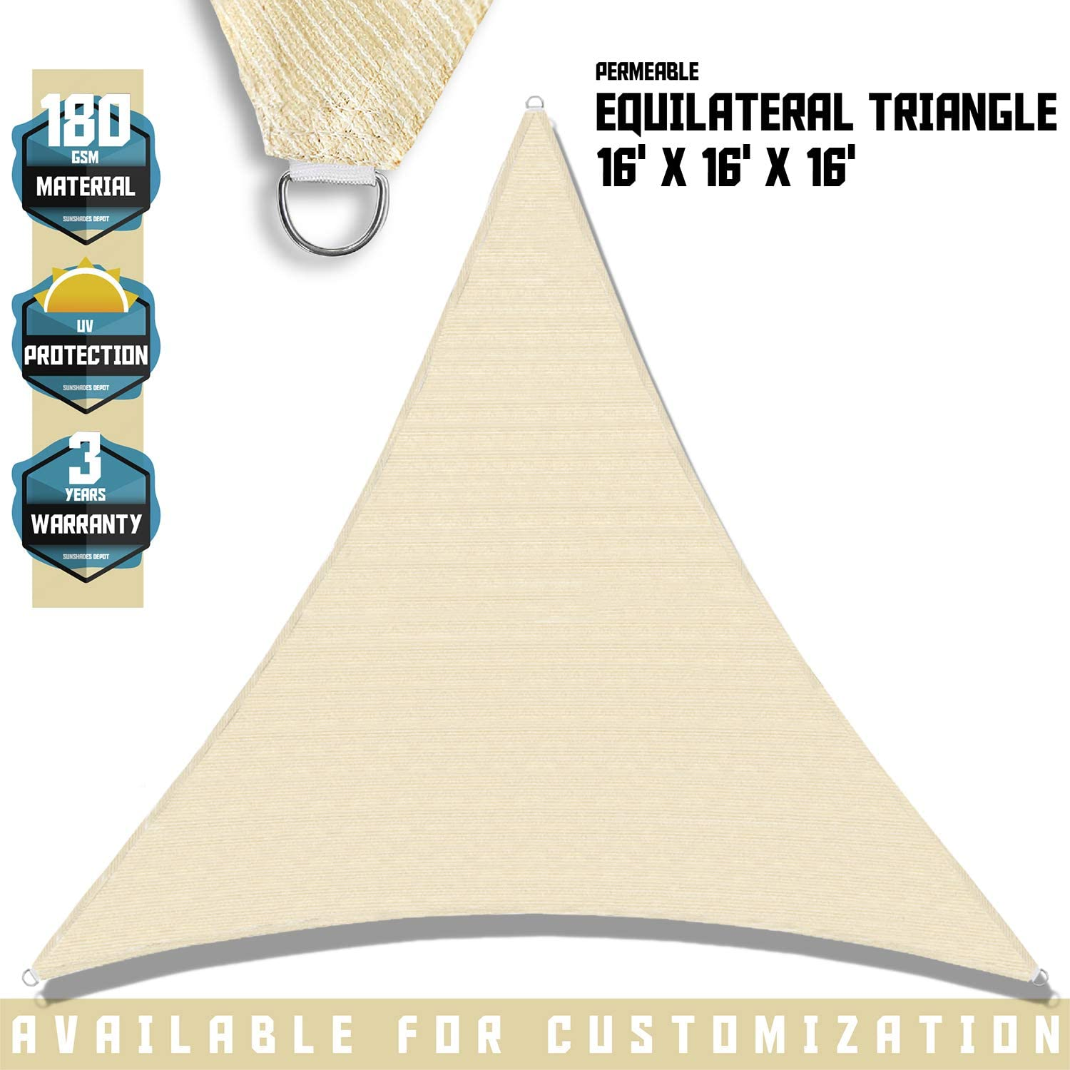 TANG Sunshades Depot 16 x16 x16 Sun Shade Sail 180 GSM Equilateral Triangle Permeable Canopy Tan Beige Custom Commercial Standard
