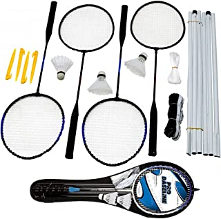 Glow Pro Baseline Deluxe 4Player Ensemble de badminton professionnel complet Singles double Jeu de jardin avec 4x Premium Raquettes, 3x volants et poteaux 2x Heavy Duty Jeu Net avec guide cordes et Pegs- Comprend pratique Portable d