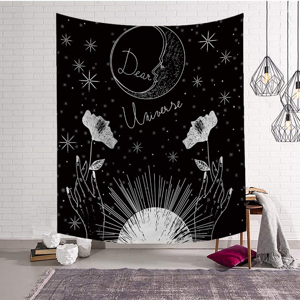"BOYOUTH Tapestry Wall Hanging,Sun,Moon,Stars and Hands with Flowers Images Digital Print Black Wall Tapestry for Living Room Bedroom Dorm Decor,59.1"" Wide by 51.2"" High"