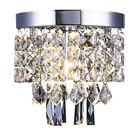 Floodoor Crystal Chandelier Mini Modern Flush Mount Ceiling Light 5 9 Inches Diameter For Bedroom Hallway Kitchen Dining Room Living Room