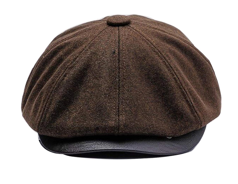 8 Panel Tweed Hat Mens Newsboy Flat Cap Gatsby Hat Warm Lining Winter Hat  CN- cc91c5b91182