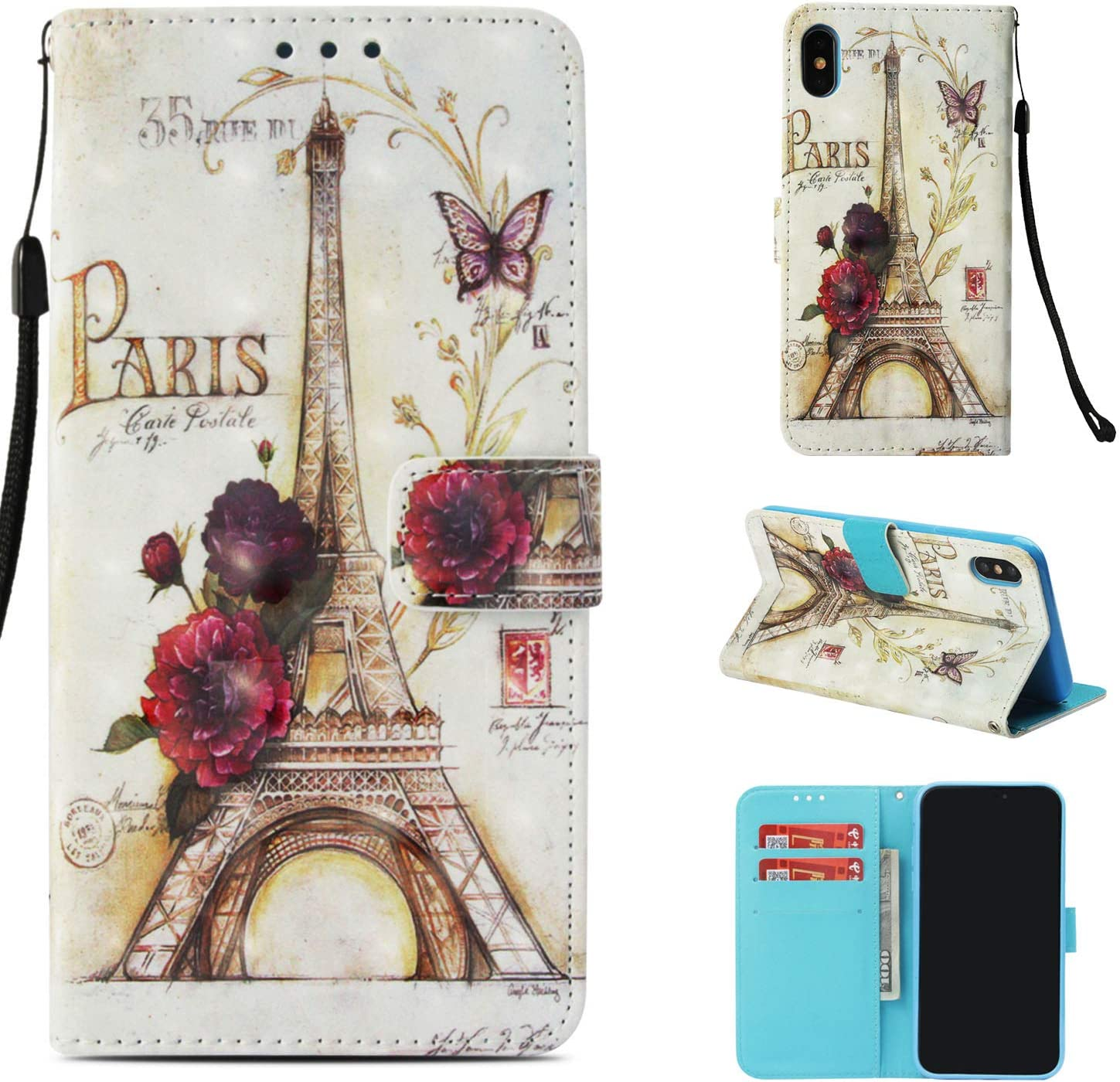 Amocase Wallet Leather Case with 2 in 1 Stylus for iPhone XS Max 6.5 inch,Premium 3D Printed Magnetic PU Leather Card Slot Stand Fold Flip Case with Wrist Strap - Paris Tower