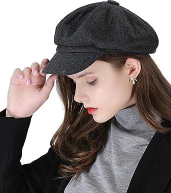 Newsboy Cap Womens Baker-Boy Style Visor Berets Hats Ivy Peaked Flat Cap  for Women (Style2_Dark Grey) at Amazon Women's Clothing store