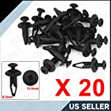 uxcell 20 Pcs 6.3mm Black Plastic Fastener Rivets