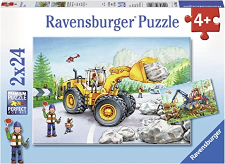 Ravensburger Excavator and Forest Tractor Jigsaw Puzzle (2 x 24 Piece)