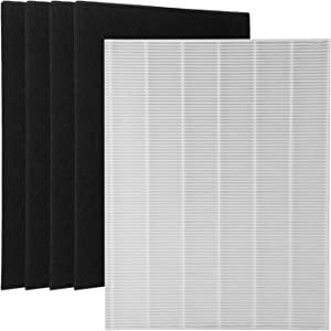 Wolfish 1 True HEPA Filter + 4 Carbon Replacement Filters A 115115 Size 21 for Winix PlasmaWave Air Purifier 5300 6300 5300-2 6300-2 P300 C535