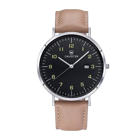 Timothy Stone BAU005 - Reloj de hombre, movimiento de cuarzo suizo, pulsera de piel beige: Amazon.es: Relojes