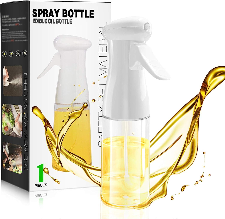 Olive Oil Sprayer, Peanut Oil Spray Bottle for Cooking Mist Air Sprayers Spritzer 7oz/210ml Food Grade Kitchen Cooking Oil Pump BPA Free Oil Sprayer Mister for BBQ Roasting Salad Baking(White)