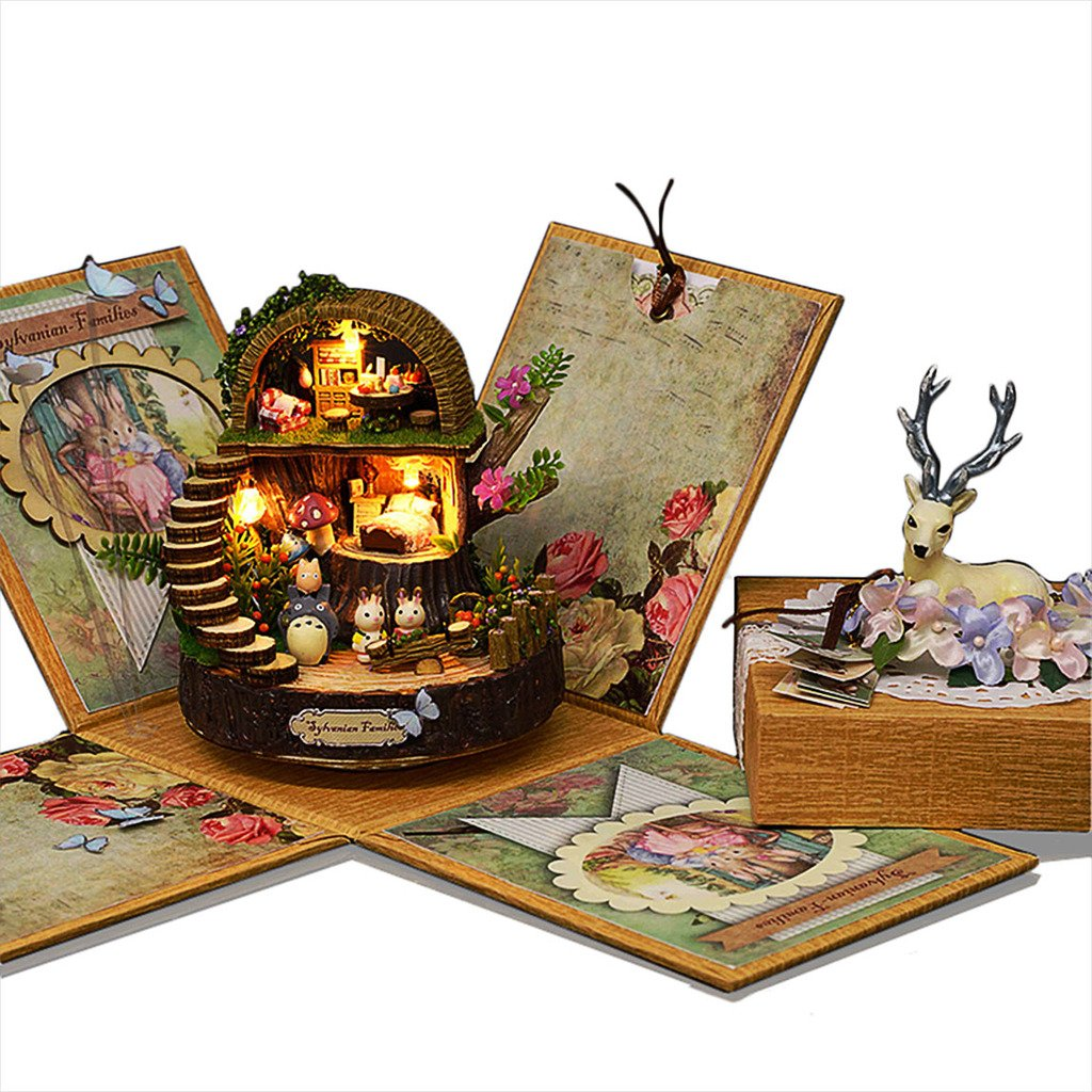 Rylai 3D Puzzles Wooden Handmade Dollhouse Miniature DIY Kit - Fantasy Forest Series Dollhouses for Girls Wood Room & Furniture/Accessories with Furniture & LED & Music Box Best Birthday Gifts