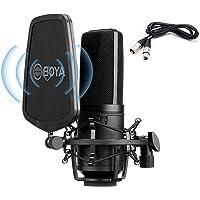BOYA Micrófono condensador de estudio de diafragma grande con 24 V 48 V Phantom Power XLR Cable para grabación vocal…