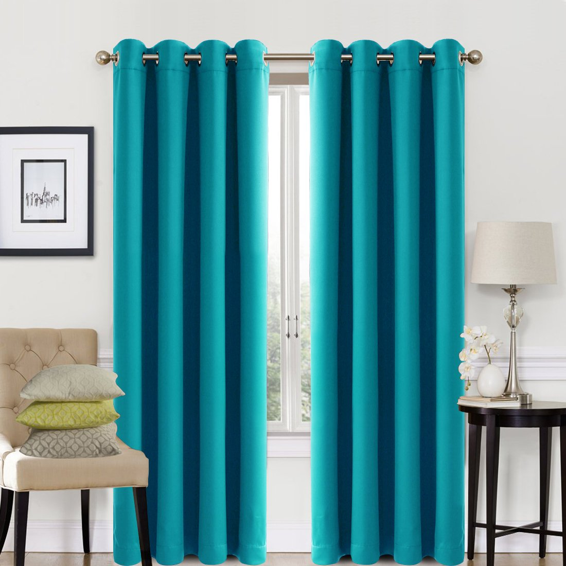 EASELAND Blackout Curtains 2 Panels Set Room Darkening
