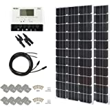 HQST 200 Watt 12 Volt Monocrystalline Slim Solar Panel Kit with 30A Negative-Ground PWM LCD Display Charge Controller