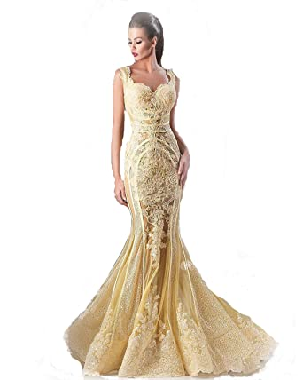 Haokeda Long Gold Applique Lace Sweetheart Neck Evening Prom Dresses