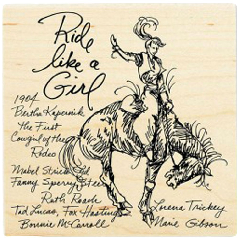 {Single Count} Unique & Custom (4'' Inches) ''Rodeo Cowgirl Ride Like A Girl Quote'' Square Shaped Genuine Wood Mounted Rubber Inking Stamp