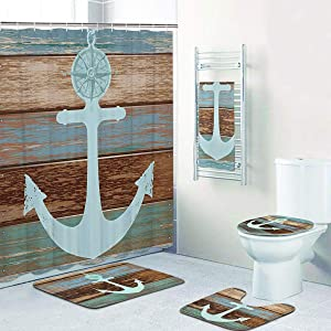 5 Pcs Anchor Shower Curtain Sets with Rugs and Towels, Include Non-Slip Rug, Toilet Lid Cover and Bath Mat, Nautical Anchor Rustic Wood Waterproof Shower Curtain with 12 Hooks for Bathroom