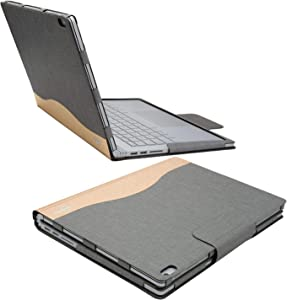 iCarryAlls Executive Surface Book Laptop Case, Detachable Protective Flip Case Cover for 13.5 inch Microsoft Surface Book 2, Gold-Gray (WMQ023-Gray)