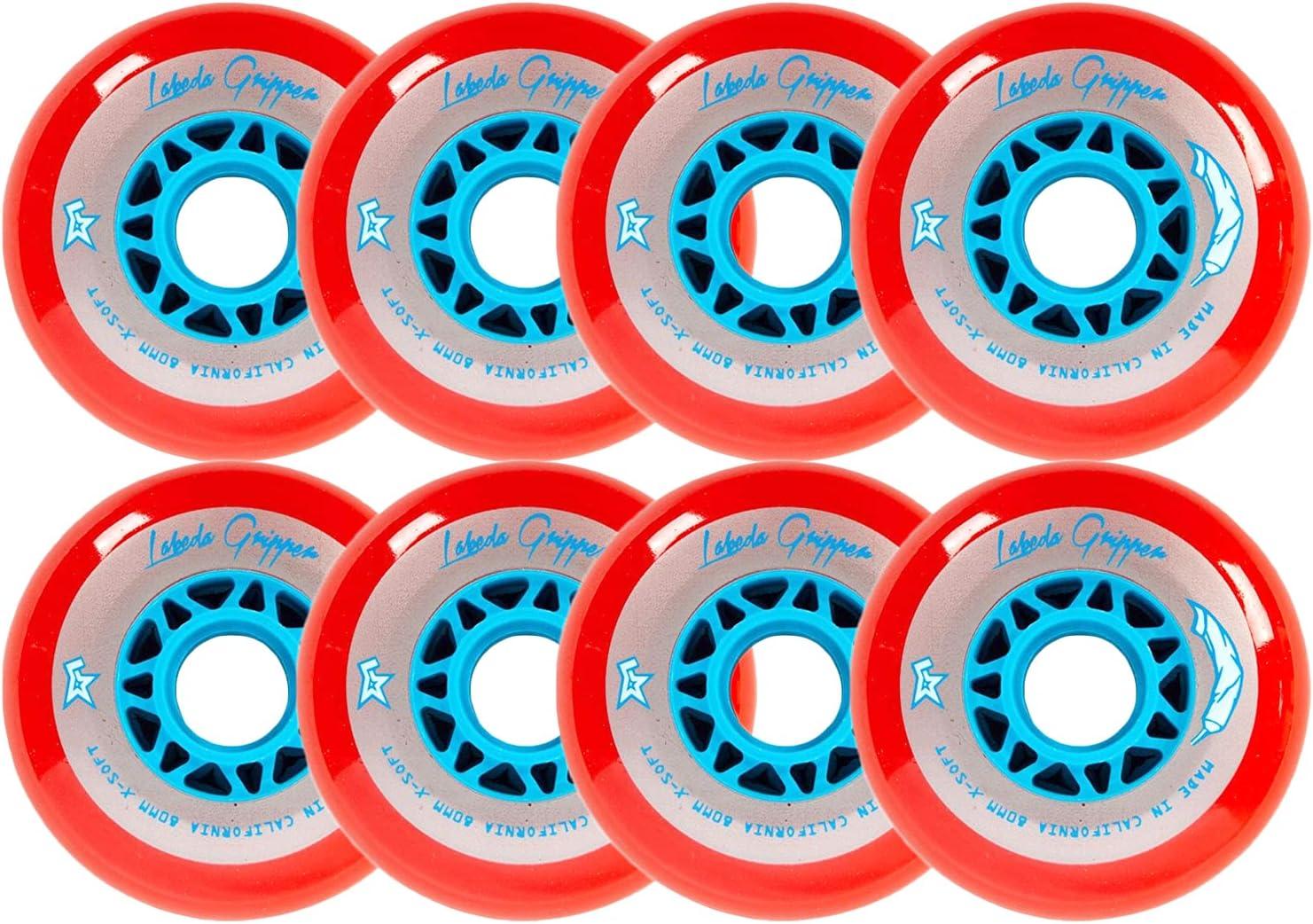 Labeda Wheels 80mm //76mm Hilo Gripper Red X-Soft Inline Indoor Roller Hockey 76A