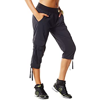 Amazon.com: Zumba Fitness Women's Oh-So-Soft Stretch Cargo Capri ...