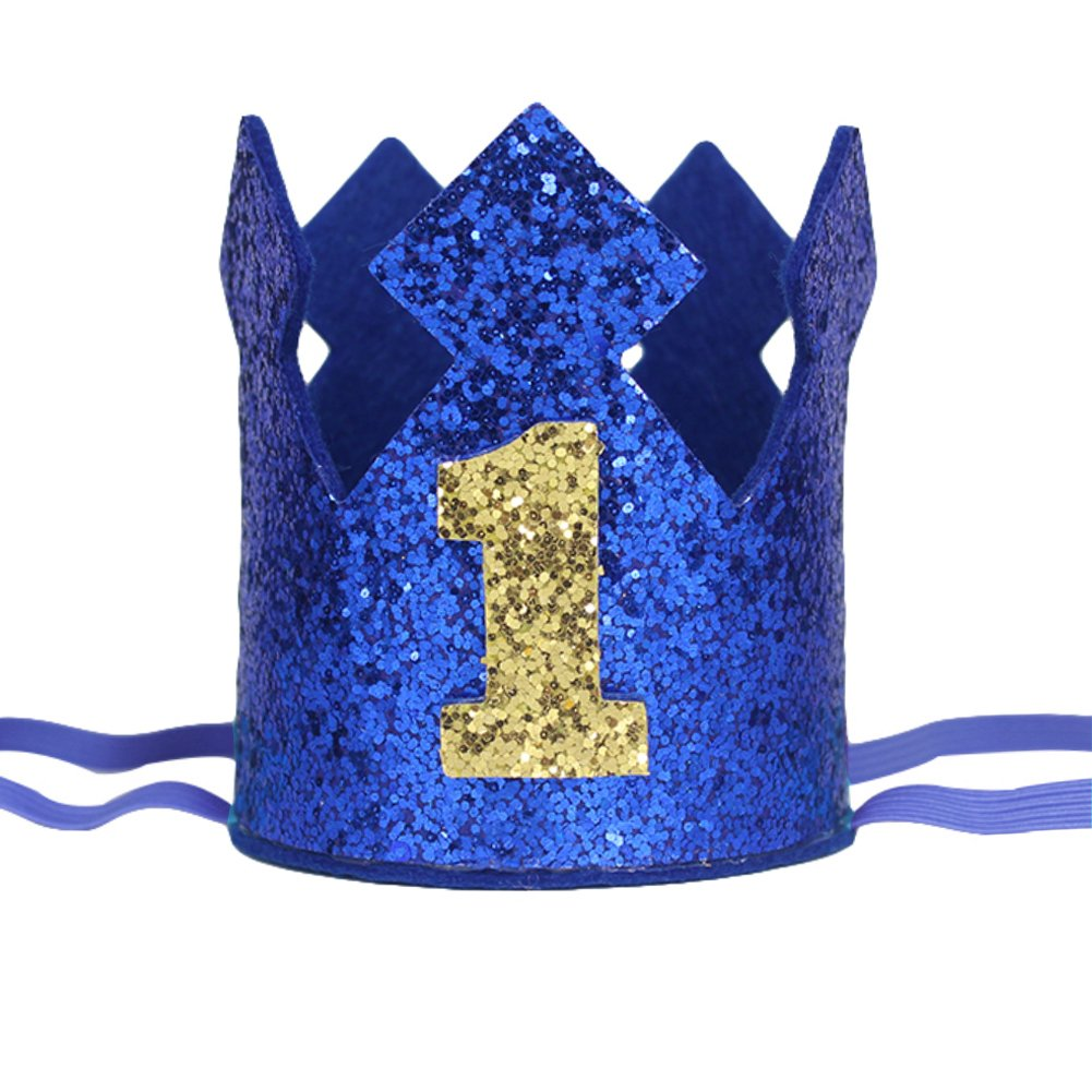 Maticr Sparkly Baby Boy First Birthday Crown Wild One Prince King Party Crown Hat Cake Smash Photo Prop