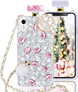 Fusicase for iPhone XR Perfume Bottle Case Luxury Bling Diamond Crystal Sparkle Rhinestone Glitter Case 3D Handmade Crown Fox Cover with Chain Lanyard Case for iPhone XR Pink