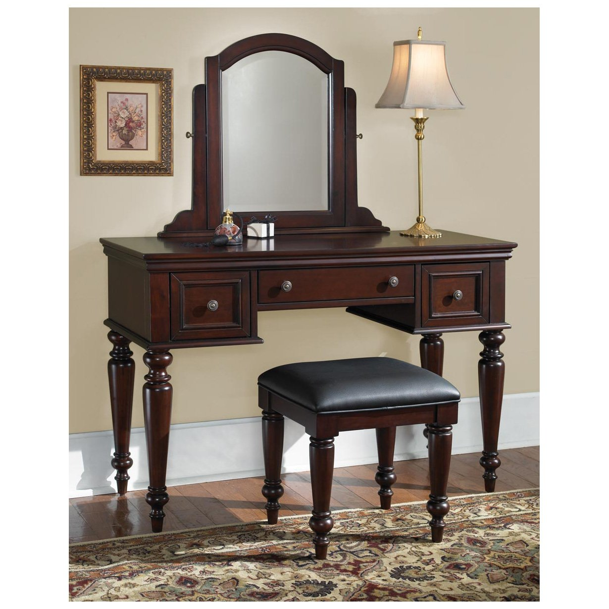 Amazon.com: Home Styles 5537-72 Lafayette Vanity Table and Bench ...