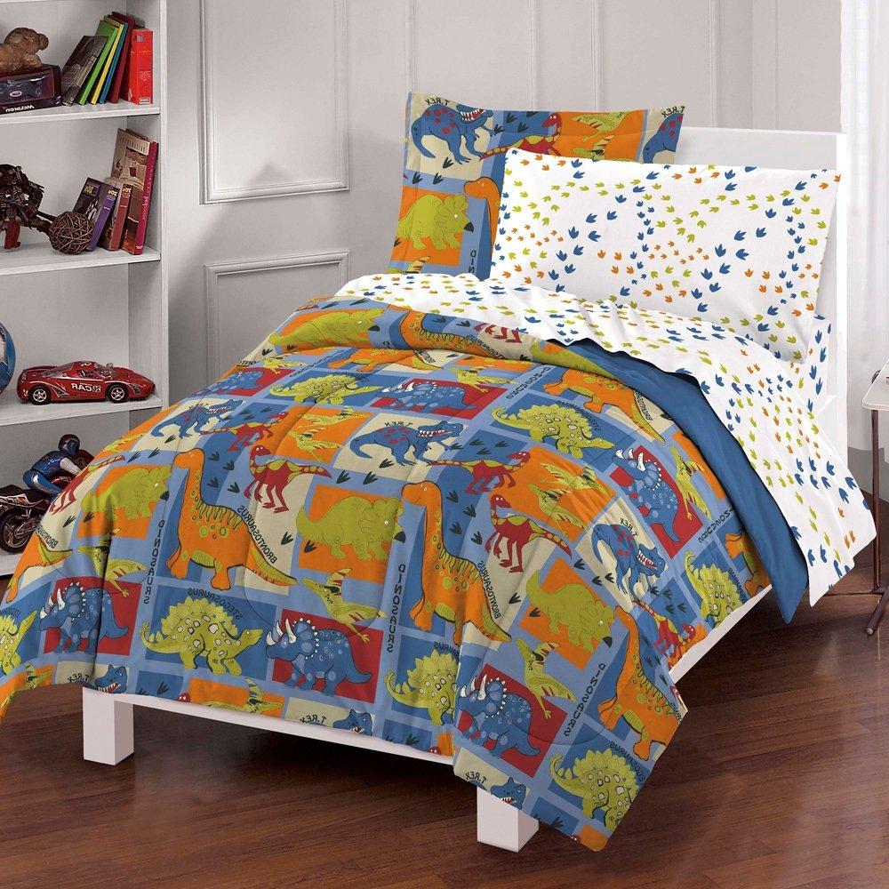 Dinosaur Animal Bedding Children 7 Piece Bed in Bag, Sheet Set, Kids Boys Multicolor Blue Orange Reversible Comforter, Patterned Cute Dinosaurs Prints, Species Names, Soft Silky Microfiber, Full Size