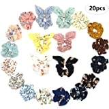 36 Pcs Hair Scrunchies Velvet Elastic Hair Bands Scrunchy Hair Ties Ropes Scrunchie for Women or Girls Hair Accessories - 36 Assorted Colors Scrunchies 20 Pcs Colors Flower Chiffon Scrunchies