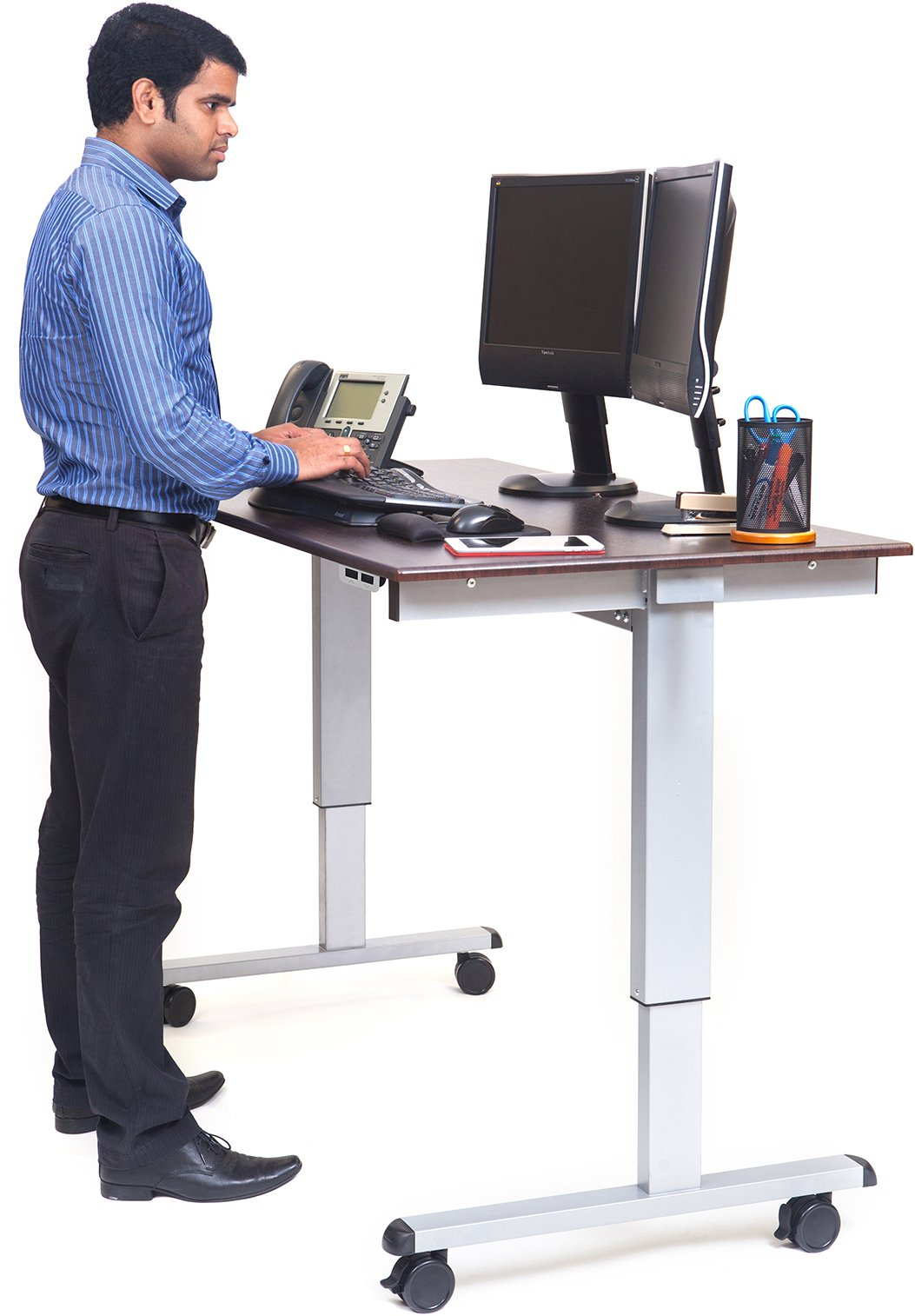 Electric Standing Desk (Desk Length: 60˝, Silver Frame / Dark Walnut Top)