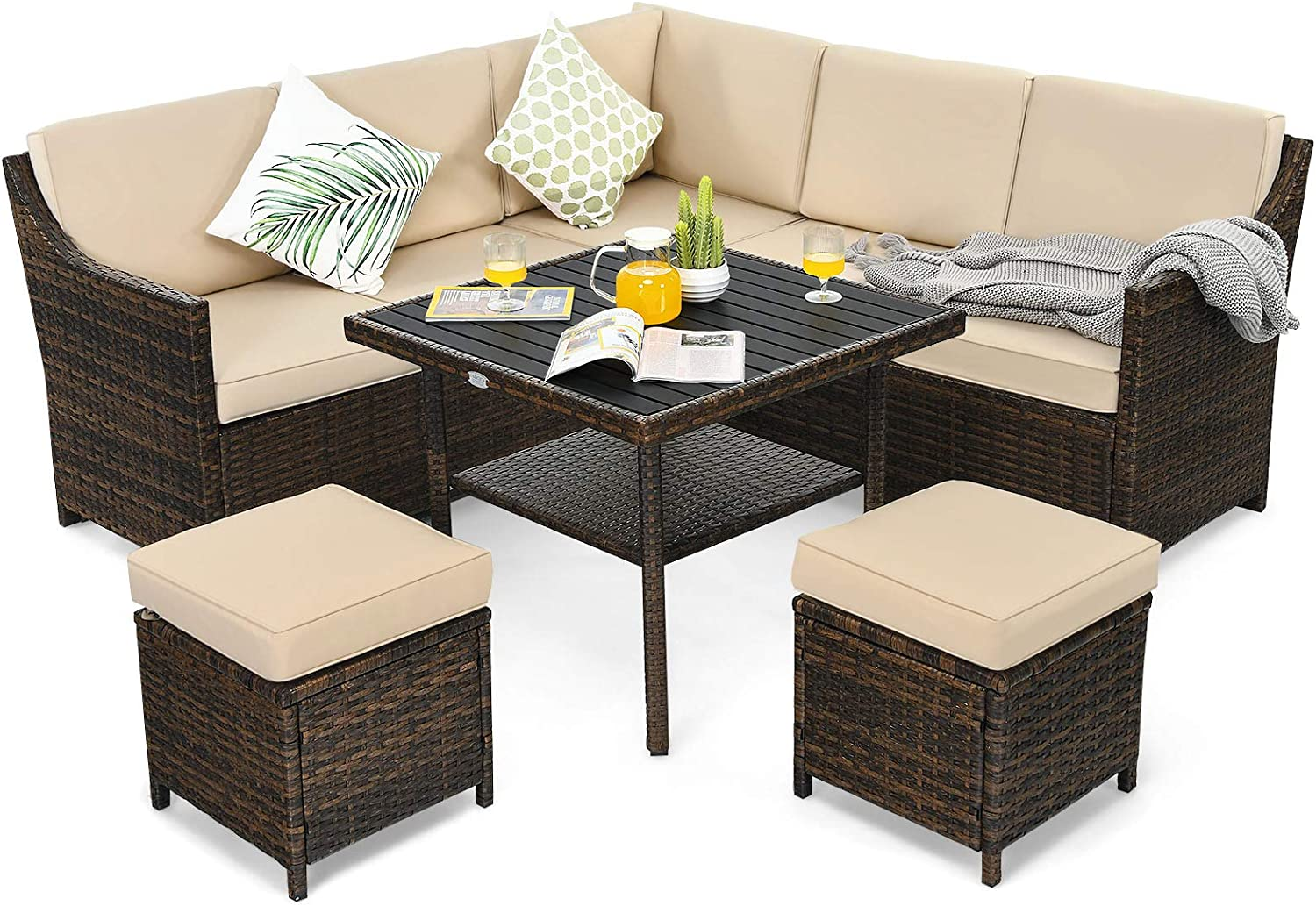 Tangkula Wicker Outdoor Dining Set, 6 Piece PE Rattan Wicker Sectional Corner Sofa Set with Dining Table, 2 Ottomans, Suitable for Garden, Patio, Poolside, Lawn and Balcony, Patio Furniture Set