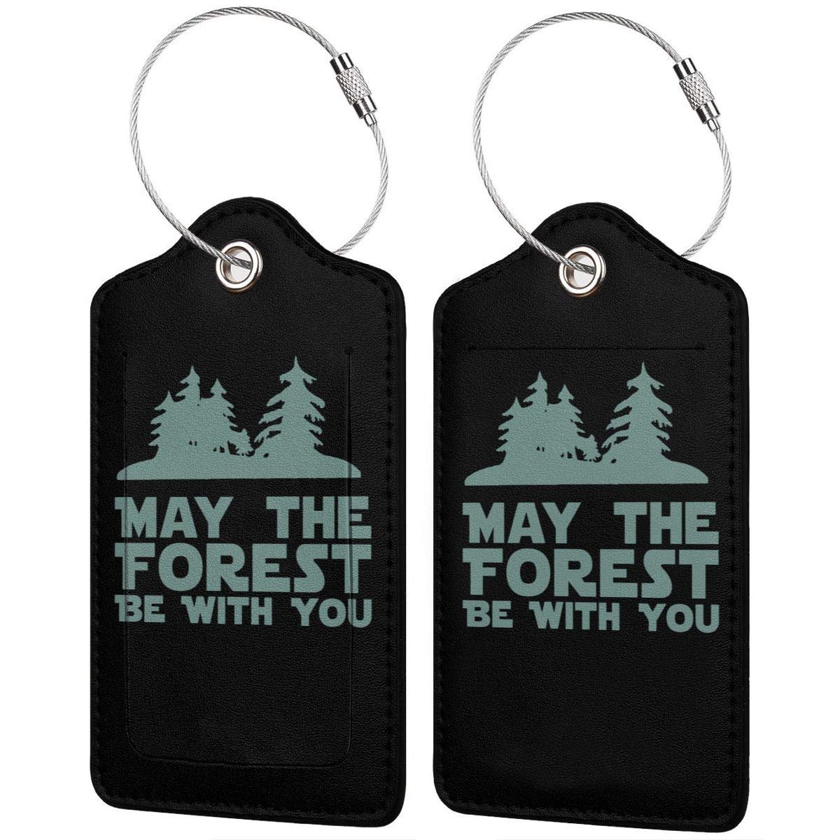 May The Forest Be With You Leather Luggage Tag Travel ID Label For Baggage Suitcase