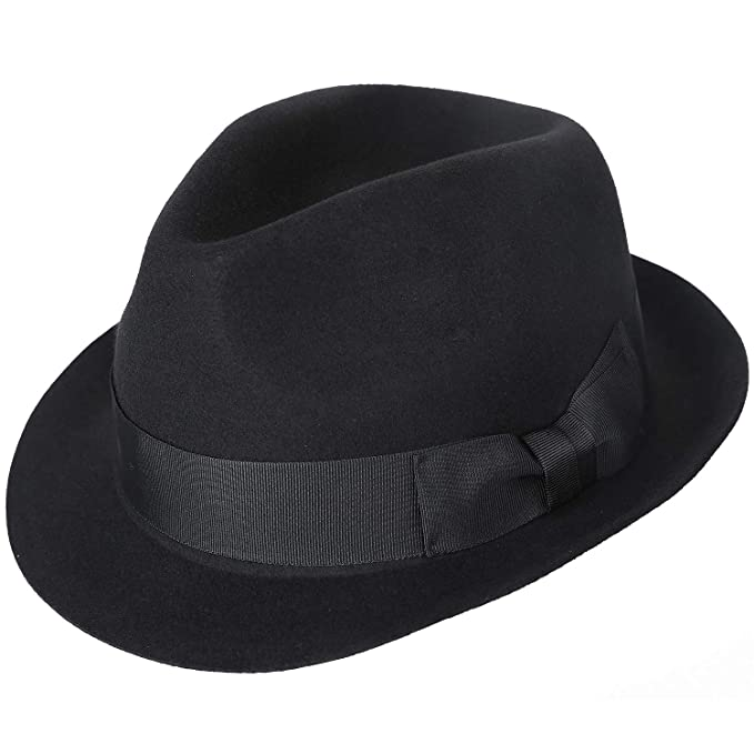 bcbea575f64 Janetshats Unisex Wool Trilby Felt Fedora Hats Short Brim Panama Jazz  Bowler Hat  Amazon.ca  Clothing   Accessories