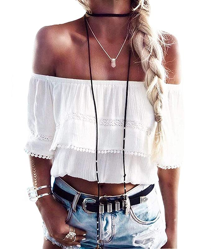 Womens Summer Short Sleeve Casual Tee Shirts Chiffon Strapless Blouses and Tops (S, White-Biege) Best Crop Tops