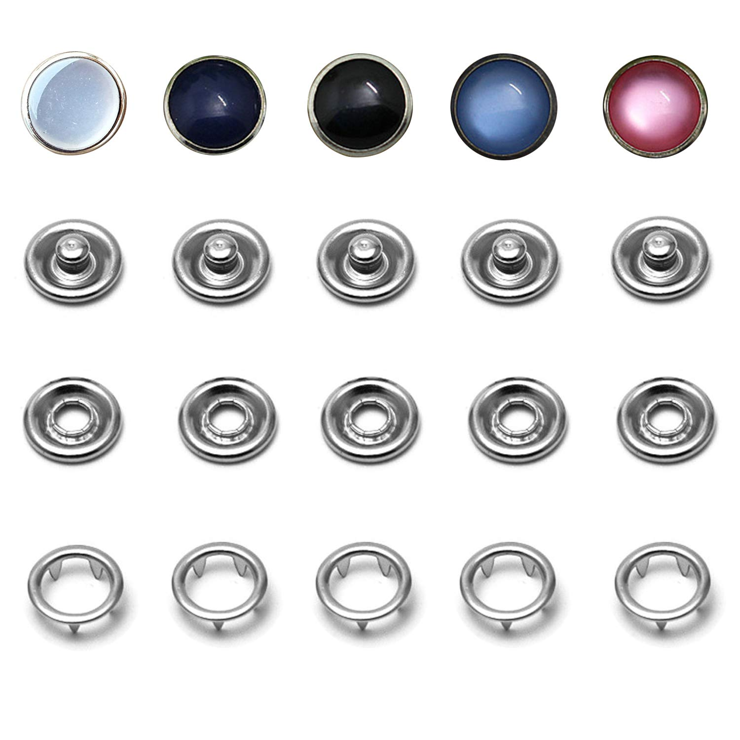 50 Sets Snap Fastener Kit, 16L/10mm Classic Pearl Prong Ring Snaps for Western Shirt Clothes Popper Studs with Clear Storage Box (5 Color x 10 Sets) by Ouhong