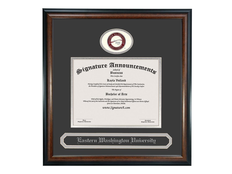 Sculpted Foil Seal /& Name Graduation Diploma Frame 16 x 16 Matte Mahogany Signature Announcements Eastern-Washington-University Undergraduate