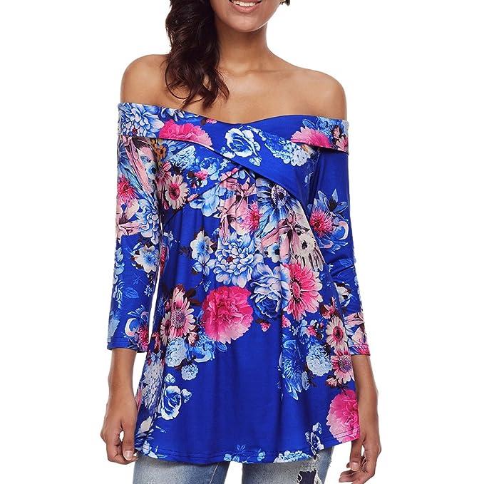 Hzjundasi Moda Elegante Mujer Hermosa Camiseta manga larga de hombro estampado Floral Tops Blusa Color Diferente