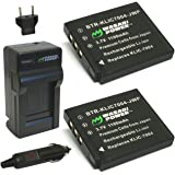 Wasabi Power Battery (2-Pack) and Charger for Pentax D-LI68, D-LI122 and Pentax Q, Q7, Q10, Q-S1, Optio A36, Optio S10, Optio S12, Optio VS20