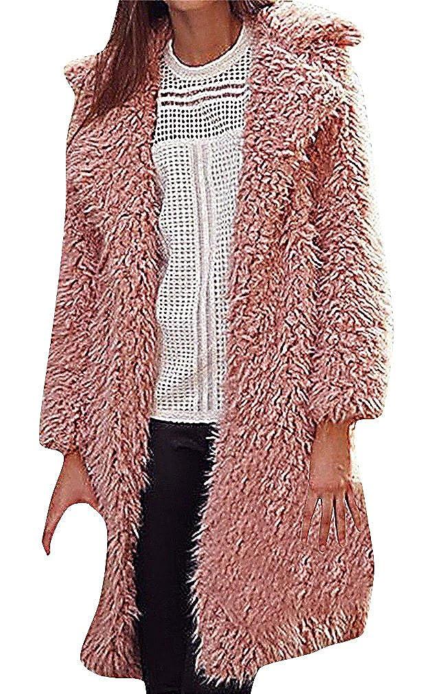 US/&R Women Retro Solid Color Fuzzy Turndown Collar Long Open Wool Fur Coat