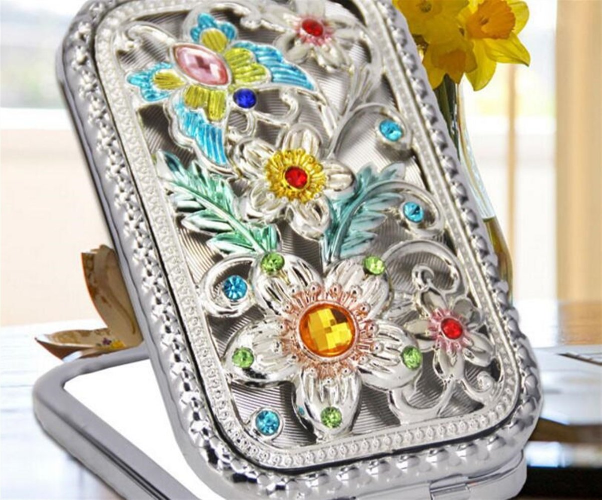 Yingealy Childrens Mirror Mini Rectangle Shape Butterfly Flower Pattern Cosmetic Mirror Small Glass Mirrors for Crafts Decoration