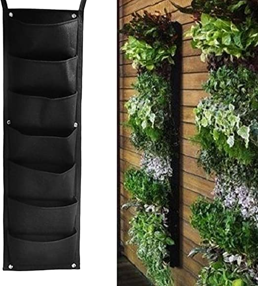yeahii 7 bolsillo para colgar valla jardín Vertical flores vege hierbas maceta pared 100 x 29 cm: Amazon.es: Jardín