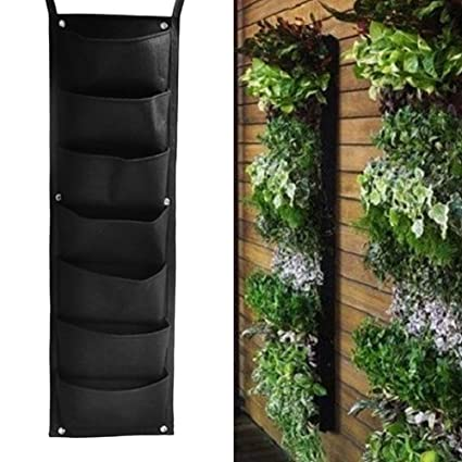 Bon Yeahii 7 Pocket Hanging Fence Garden Vertical Flower Vege Herbs Wall  Planter 100 X 29cm